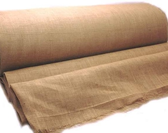 AAYU's Burlap Wedding Aisle Runner | 40 inch  x 50 feet 10 ounce | White Ribbon Attached Both Sides | Heavy No Fray Burlap
