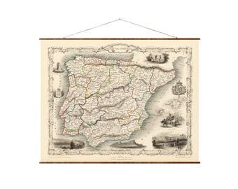 "Map of Spain and Portugal, 35""x 44"", Canvas Map, vintage map, antique map, large canvas map, ancient maps, map of Spain, roll down map"
