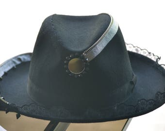 Unique handmade black wool fedora with silver zipper ornament.