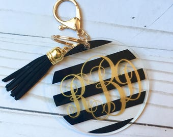 Monogram keychain with tassle, Personalized keychain, keychain with tassle, Monogram Stocking Stuffer, Personalized Stocking Stuffer