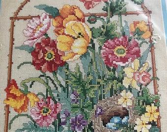 Vintage Bucilla Counted Cross Stitch Kit Springtime Secret