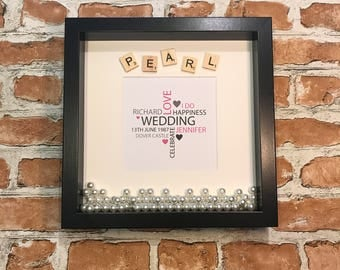 Pearl 30 Year Anniversary Frame with Word Cloud
