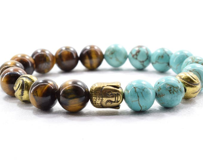 Buddha Bracelet, with Tiger's Eye and Turquoise Aqua Marine beads.