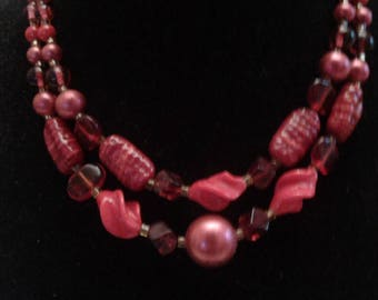 Gorgeous Red Glass Vintage Multi Strand Necklace, Marked Japan