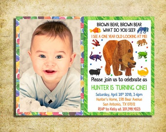 Brown Bear Birthday Invitation - Brown Bear, Brown Bear Birthday Party Invite With Photo  - Printable And Digital File