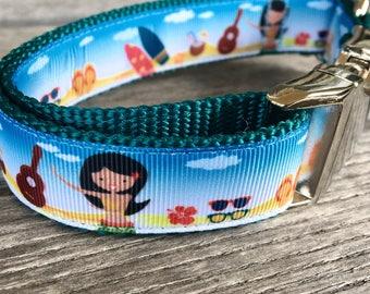 "Surf Girl 1"" Wide Dog Collar, Hawaii Dog Collar, Surfboard, Beach, Sunglasses, Coconut, Ukulele Nylon Webbing Dog Collar, Leash Hawaiian"