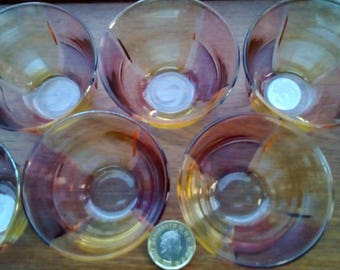 Set of Six Decorium Handcrafted Glasses Drinking Glasses Vintage Glass Liquer Glasses