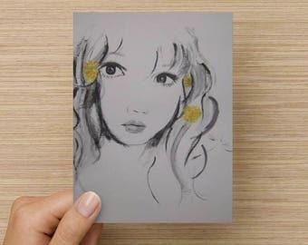 Birthday card / Blank inside / Original artwork card / Unique cool young artwork card / Dandelion girl artwork / Brandy Mars Artwork