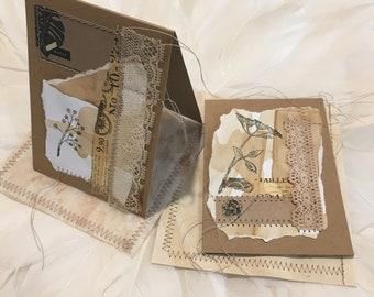 Mixed Media Vintage Lace and Ephemera Gift Cards - Set of 2 (#02)