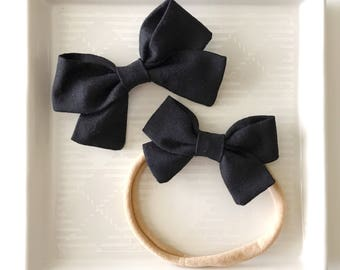 Black Classic Bow - Baby Girl Nylon Headband and Bows - Girls Fabric Bow - Newborn Bow - Black Bow - Black Headband - Black Fabric Bow