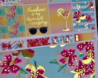 Hello Summer Gold Foiled Classic HAPPY PLANNER Weekly Decorative Sticker Set
