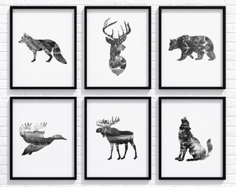 "Animal Print Set 8x10"", Deer Print, Deer Head, Bear Print, Nursery Print, Animal Print, Nursery Animal Art, Animal Poster, Nursery Decor"