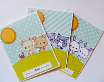 Cute Couple Bears, Rabbits and Raccoons Cards   Valentine's Day Card   Love Card   Cute Card