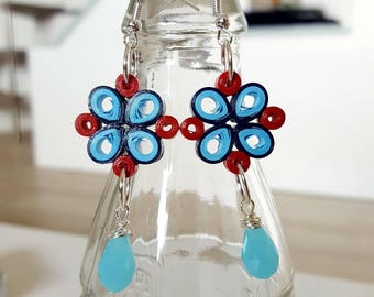 Paper quilling earrings, red, with heavenly blue briolette
