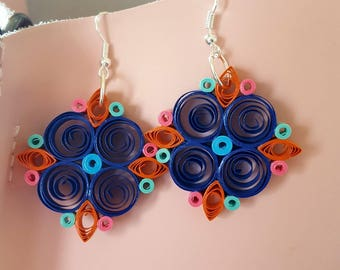 Paper quilling, multicolored diamond earrings as tiles