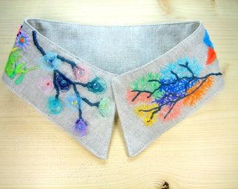 """Detachable collar embroidered linen """"Garden"""""""