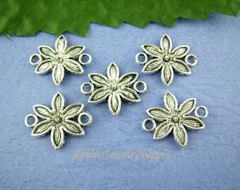 10 pcs - Antique Silver - Jewelry Connectors - Bracelet Connectors - Necklace Connectors - Connectors - Flower Charm - Connector  - F0039