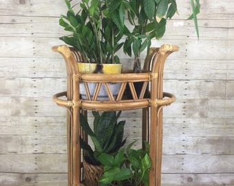 Rattan Plant Stand Side Table - Boho Mid Century Modern Jungalow Vintage Home Decor