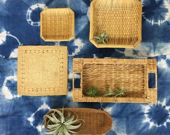 Wicker Basket Wall Art Collection - Vintage Rattan Boho Jungalow Home Decor Wall Hanging