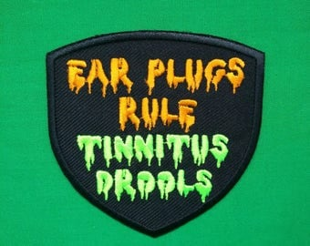 Earplugs rule tinnitus drools embroidered iron on patch