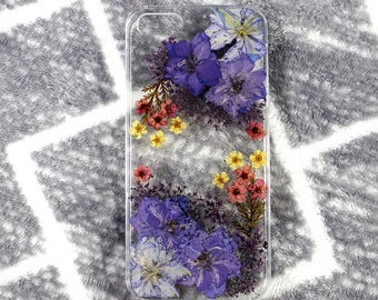 Real Floral pressed flowers Natural flower case cover for iphone 5 5s SE 6 6s 7 8 X Plus Iphone X  Skin Pink florals pattern purple cute