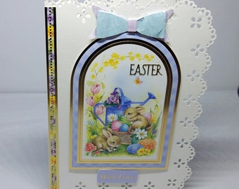 Easter Card Male/Female/Child/Friend - luxury personalised unique quality special bespoke UK- rabbits/bunnies/chickens/chicks/flowers