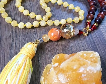 Yellow Calcite Crystal Rosewood Mala