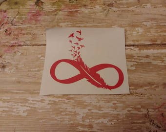 Feather & Birds Infinity Symbol Decal