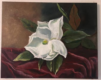 Magnolia flower, oil on stretched canvas 16/20 inches
