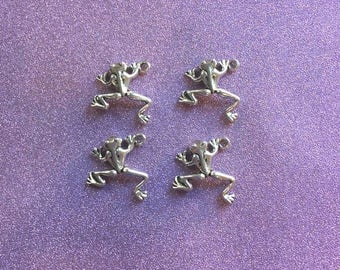 4 Antique Silver Alloy Frog Charms