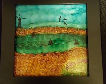Alcohol ink on tile with wood frame