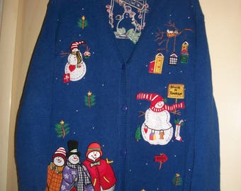 Vintage Multi-Color, Cotton Ugly Xmas Sweater, Winter, Holiday Cardigan Sweater, Size XL-1X. Quacker Factory Sweater