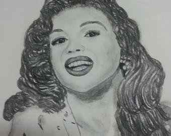 "hand drew charcoal portrait ""jayne"""