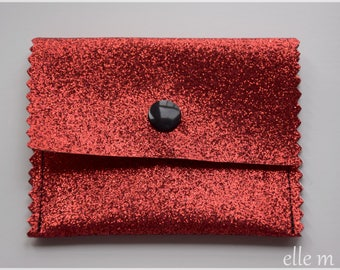 Red glitter jewelry pouch