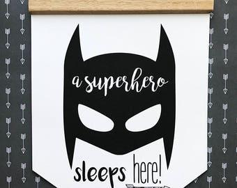 Superhero Wall Banner, Flags and Hangings   Kids Room   Personalised Decor   Custom Nursery Art