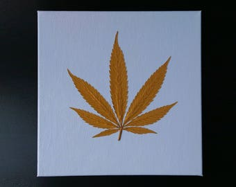 """Gold Cannabis Leaf on Hand Painted Canvas (12"""" x 12"""")"""