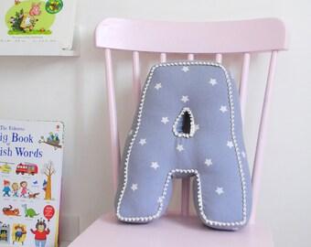 Grey Star Letter Cushions, personalised cushion, keepsake gift, newborn gift