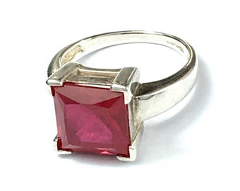 Genuine Ruby and Sterling Silver Square Ring