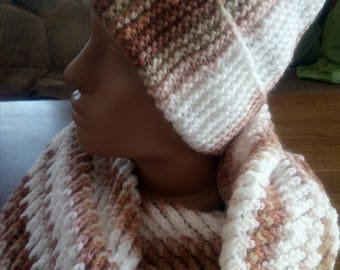 Woman winter set: snood and hat. Winter circle scarf and beanie