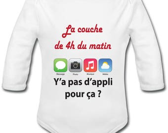 Funny baby Bodysuit: App layer - long or short sleeves