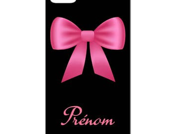 IPhone case - pink bow with custom name - 3D Iphone 4 / 4s - 5 / 5 S - 5 c - 6 / 6 S - 6 more-7/8-7 more