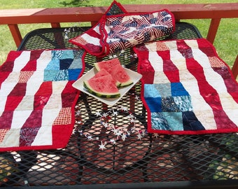 July 4th  placemats set of four red, white and blue placemats picnic,patriotic placemats, table placemats,free shipping