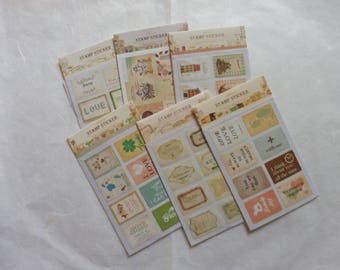 Stickers 2 sheets available in 16 piece set 3 stamps designs here are listed and numbered lists