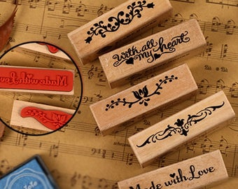 Wooden and rubber stamps in 6 designs here are listed and numbered lists