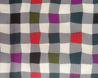 Japanese - Sevenberry - multicolor checkered gray - cotton fabric by 50cm (110 x)
