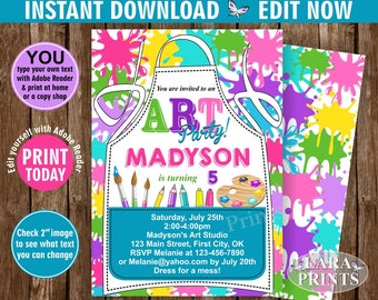 INSTANT DOWNLOAD / edit yourself now / Birthday / Invitation / Art / Party / invite / Pink / Teal / Purple / Girl / DIY / Printable BDPaint3