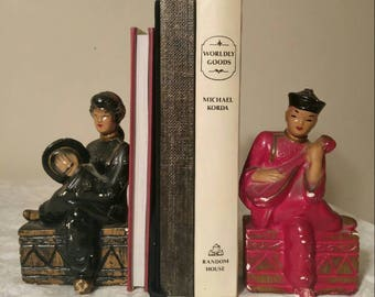Mid-Century Chalkware ~ 1950's ~ Asian Theme ~ Bookends ~ Asian ~ Vintage