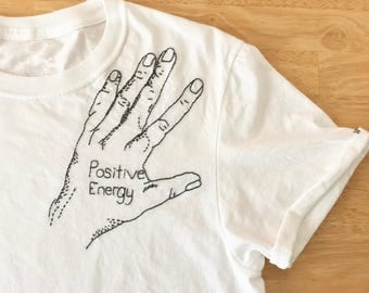Positive Energy Hand Embroidered T-Shirt