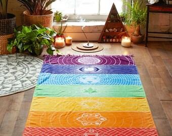 Rainbow Chakra Tapestry - Yoga Mat -  Chakra Towel - Travel Yoga Mat - Home Decor - Chakra Blanket - Yoga lover Gift