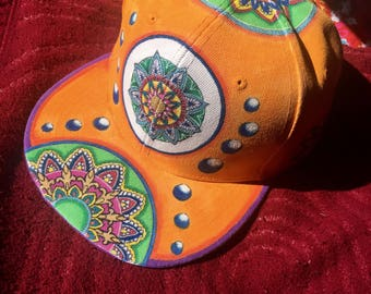 Handpainted snapback hat, handmade hat, handpainted cap, psychedelic hat, mandala clothing